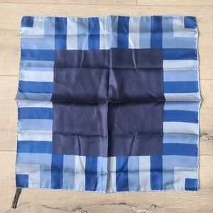 (2/$15) Symphony Square Blue Abstract Silk Scarf